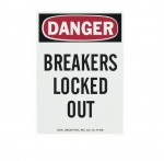 "Safety Sign, ""Danger Breakers Locked Out"", Magnetic"