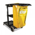Janitorial Cart, 3 Shelves, Yellow