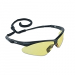 Safety Glasses w/ Amber Anti-Scratch Lens & Black Frame