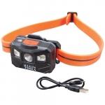 LED Rechargeable Headlamp, Light Sensing, 400 lm, Orange