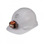 Hard Hat w/Headlamp, Cap Style, Non-Vented, White