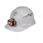 Hard Hat w/Headlamp, Cap Style, Vented, White
