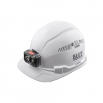 Vented Hard Hat w/ Rechargeable Headlamp, Cap Style, White