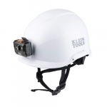 Non-Vented Safety Helmet w/ Headlamp, Class E, White