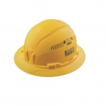 Vented Hard Hat, Full Brim, Yellow