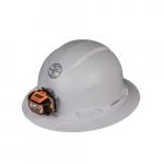 Hard Hat w/Headlamp, Full Brim, Non-Vented, White