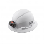 Non-vented Hard Hat w/ Rechargeable Headlamp, Full Brim, White