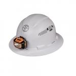 Hard Hat w/Headlamp, Full Brim, Vented, White