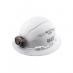Vented Hard Hat w/ Rechargeable Headlamp, Full Brim, White