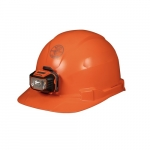 Hard Hat w/Headlamp, Cap Style, Non-Vented, Orange
