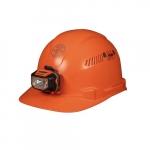 Hard Hat w/Headlamp, Cap Style, Vented, Orange