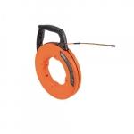 100-Ft Multi-Groove Fiberglass Fish Tape w/ Spiral Steel Leader, Orange
