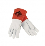 Premium Grade Goatskin & Split Cowhide Leather Welding Gloves, White, Large
