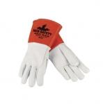 Premium Grade Goatskin & Split Cowhide Leather Welding Gloves, White, X-Large