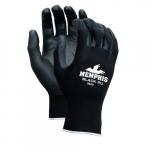 PU Coated Gloves, Medium, Black & Blue
