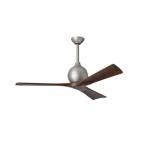 52-in 32W Irene-3 Ceiling Fan w/Remote, DC, 6-Speed, 3-Walnut Blades, Brushed Nickel