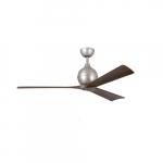 60-in 31W Irene-3 Ceiling Fan w/Remote, DC, 6-Speed, 3-Walnut Blades, Brushed Nickel