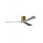 52-in 32W Irene-3H Ceiling Fan w/Remote, DC, 6-Speed, 3-Barn Wood Blades, Brushed Brass