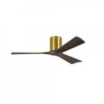 42-in 17W Irene-3H Ceiling Fan w/Remote, DC, 6-Speed, 3-Walnut Blades, Brushed Brass