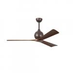 52-in 32W Irene-3 Ceiling Fan w/Remote, DC, 6-Speed, 3-Walnut Blades, Textured Bronze
