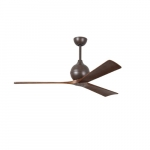 60-in 31W Irene-3 Ceiling Fan w/Remote, DC, 6-Speed, 3-Walnut Blades, Textured Bronze