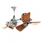62-in 91W Italo Ventania Ceiling Fan, AC, 3-Speed, 6-Wood Blades, Polished Chrome