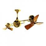 62-in 91W Italo Ventania Ceiling Fan, AC, 3-Speed, 6-Wood Blades, Gold