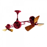 62-in 91W Italo Ventania Ceiling Fan, AC, 3-Speed, 6-Wood Blades, Red