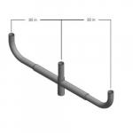 Tenon Top Pole Steel Mount, Bullhorn Bracket, 3 Arm 180 Degree, Bronze