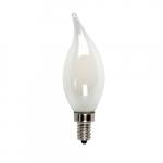3.5W LED B10 Bulb, Flame Tip, E12, 325 lm, 120V, 2700K, Frosted