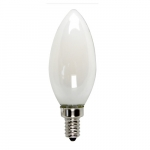 5W LED B10 Filament Bulb, Torpedo Tip, Dimmable, E12, 525 lm, 120V, 2700K, Frosted