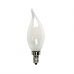 5W LED B10 Filament Bulb, Flame Tip, Dimmable, E12, 525 lm, 120V, 2700K, Frosted