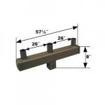 Steel Square Bracket, (3) 4-In Tenon Arm, 180 Degree Angle