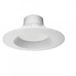 13W 6 Inch LED Downlight Residential Retrofit, 5000K, White Finish