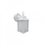 Small Outdoor Wall Lantern Light, White (17W LED A19 Bulb Included)