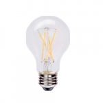 7W LED A19 Filament Bulb, Dimmable, 800 lm, 2700K, White