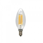 4W LED B10 Bulb, 0-10V Dimmable, E12, 300 lm, 120V, 2700K, Clear