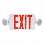 4W LED Emergency Exit Light, Two-Head, Red Lettering, 120V-277V