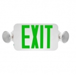 3W LED Emergency Exit Light, Two-Head, Green Lettering, 120V-277V