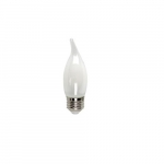 5W LED Filament B10 Bulb, Flame Tip, 60W Inc. Retrofit, Dim, E26, 525 lm, 2700K, Frosted