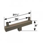 Square Bracket, (2) 4-In Tenon, 180 Degree Angle, Bronze