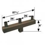 Square Bracket, (3) 4-In Tenon, 180 Degree Angle, Bronze