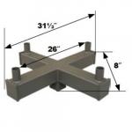 Square Bracket, (4) 4-In Tenon, 90 Degree Angle, Bronze