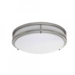 "14"" 17W LED Flush Mount Light, 75W Inc. Retrofit, Dim, 1241 lm, 2700K, Brushed Nickel"
