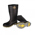 Rubber Knee High Boots, Size 10, Black/Yellow/Gray
