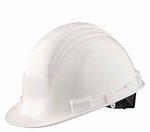 White 4 Point Ratchet Peak Hard Hat