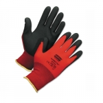 Small Red Foam Gloves w/ PVC Palm Coat, Red