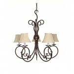 "29"" Tapas Chandelier Light, Linen Waffle shade, Old Bronze"