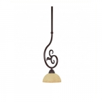 "6"" Tapas Mini Pendant Light, Tuscan Suede Glass, Old Bronze"