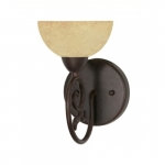 """6"""" Tapas Vanity Light, Tuscan Suede Glass, Old Bronze"""